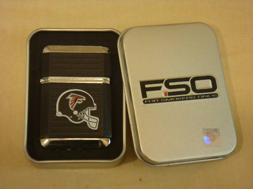 ATLANTA FALCONS BLACK TORCH LIGHTER WITH CASE NFL NEW