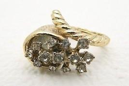 VTG Gold Tone White Cubic Zirconia Rhinestone Cornucopia Horn Ring Unusual - $9.90