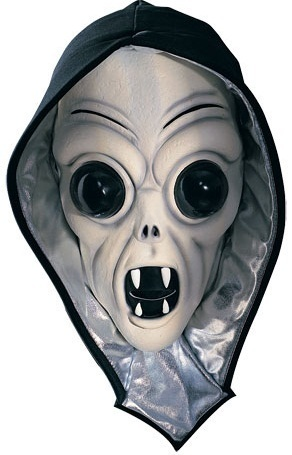 BEIGE ALIEN SCREAMER HOODED ADULT LATEX HALLOWEEN MASK