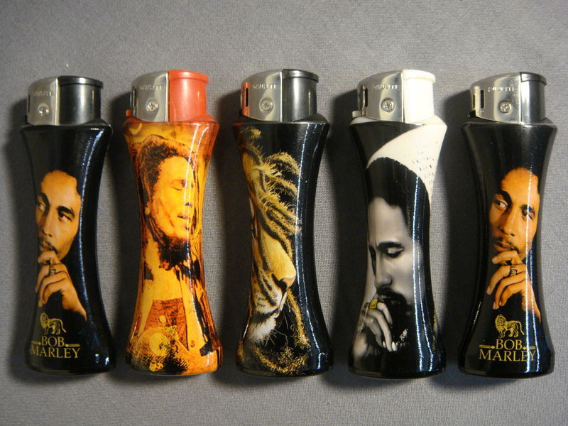 BOB MARLEY NULITE CURVE REFILLABLE CIGARETTE LIGHTERS SET OF 5 NEW - B