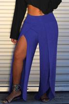 Casual High Split Blue Pants - $27.30