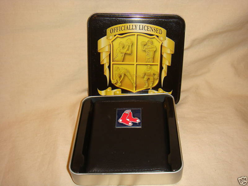 BOSTON RED SOX WALLET TRIFOLD LEATHER NFL NEW WITH CASE
