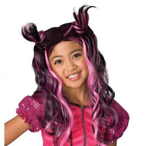 BRATZ JADE LONG BLACK AND PINK HAIR WIG CHILD SIZE NEW