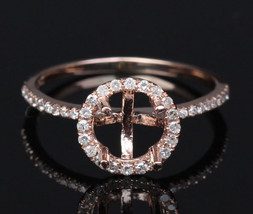 14K Rose Gold Pave Diamond Engagement Ring Setting - $425.00