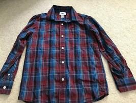 Old Navy Boys Long Sleeve Burgundy Blue Plaid Button Shirt Size Medium 8 - $3.99