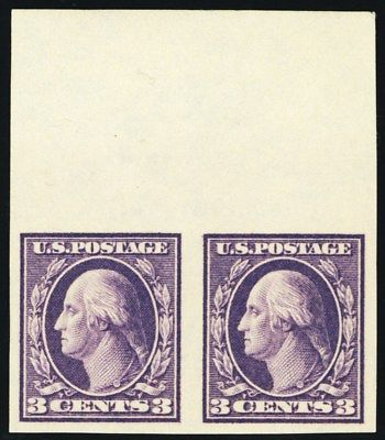 484, 3¢ Mint Superb NH Top Margin Pair of Stamps - Stuart Katz