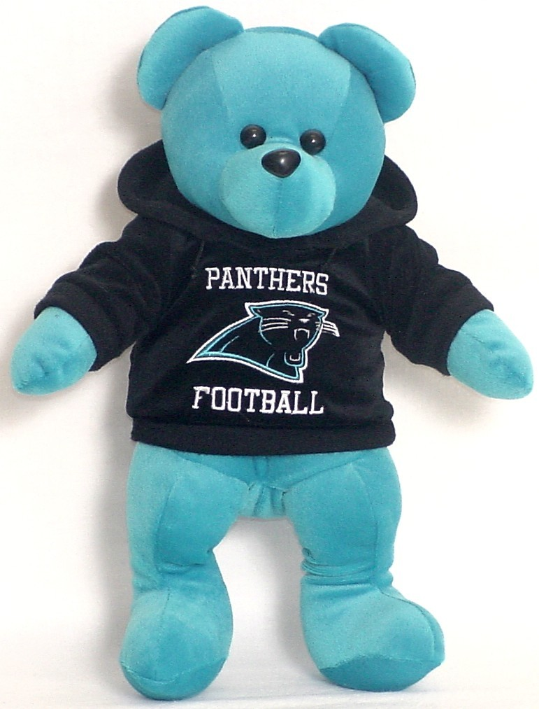 "CAROLINA PANTHERS HOODIE BEAR 15"" PLUSH NFL NEW FOOTBAL"