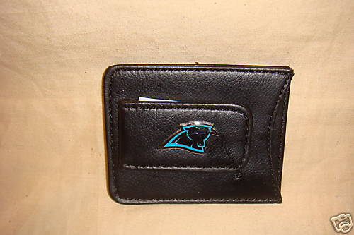 CAROLINA PANTHERS MONEY CLIP CARD HOLDER LEATHER BLACK