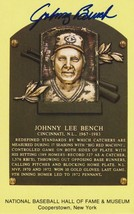 Johnny Bench Autographed Hall of Fame Plaque Postcard - $49.99