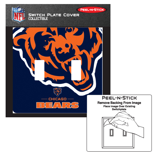 CHICAGO BEARS PEEL N STICK DOUBLE SWITCH PLATE COVER
