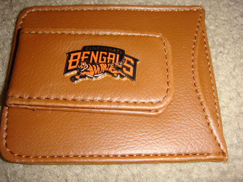 CINCINNATI BENGALS MONEY CLIP CARD HOLDER BROWN LEATHER