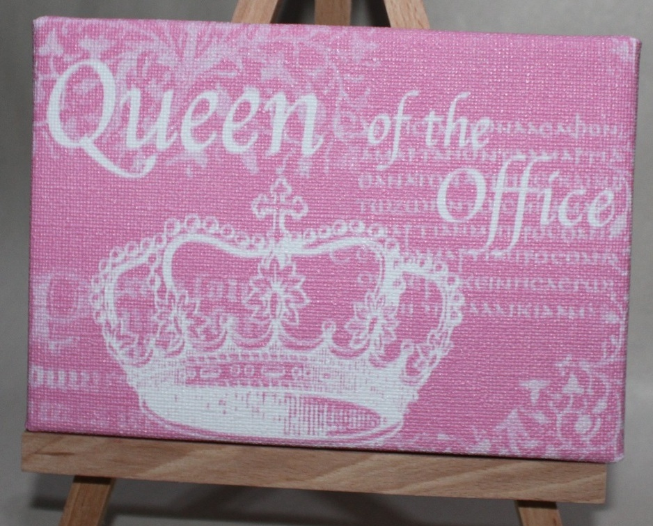 Queen of the Office Pink Desk or Wall Plaque