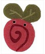Tiny Raspberry Swirly Bud 2310t handmade button... - $1.40