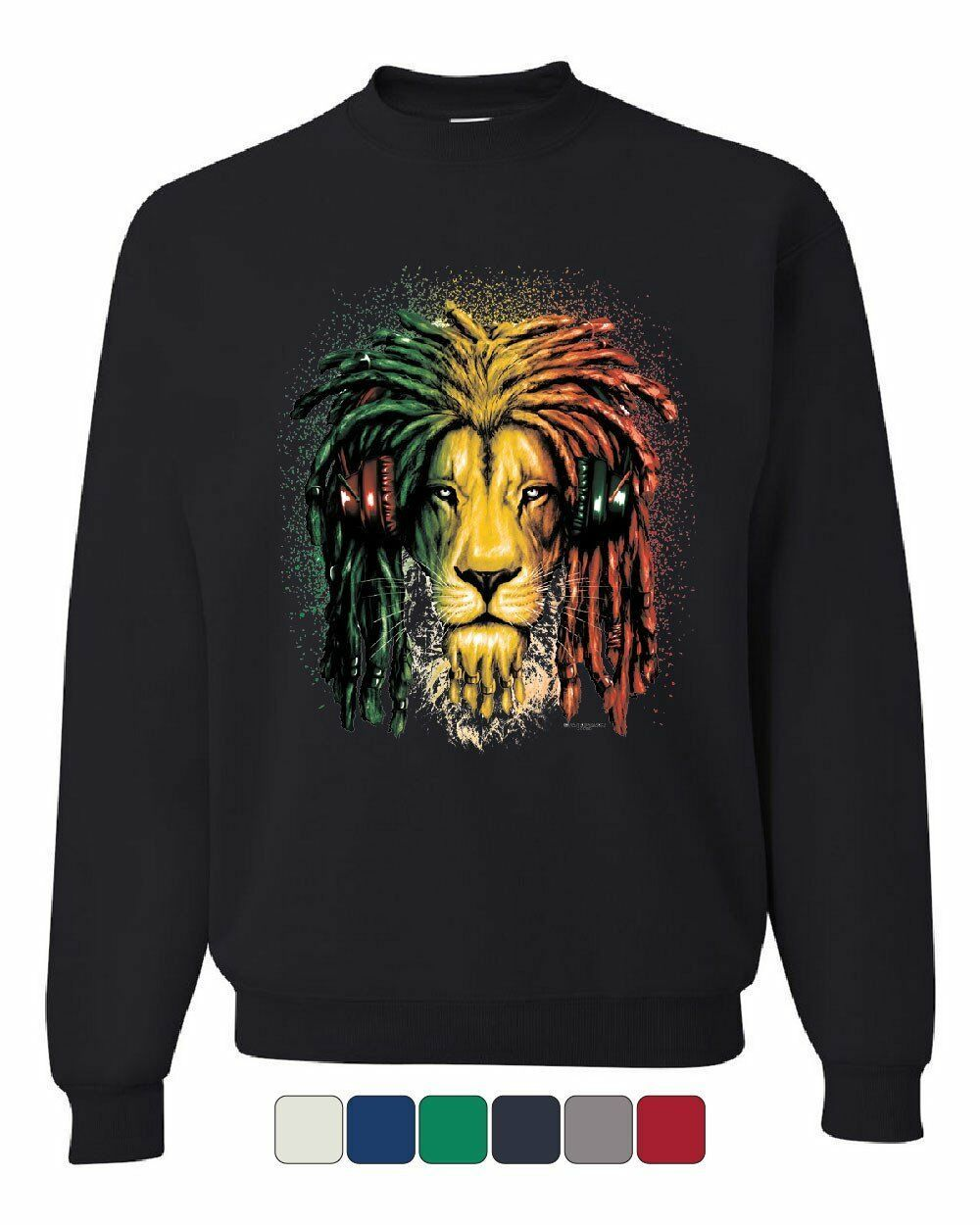 Rasta Lion with Headphones Sweatshirt  Reggae Smoking Jamaica 420 - $14.32 - $27.99
