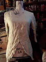 PEPITO'S  Italy Lovely Khaki Triangle Linen Blouse Size S - $27.72