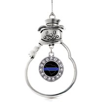 Inspired Silver South Carolina Thin Blue Line Circle Snowman Holiday Ornament - $14.69