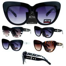 Black Society Skull Stud Thick Eye Brow Plastic Retro Cat Eye Sunglasses - £7.13 GBP+