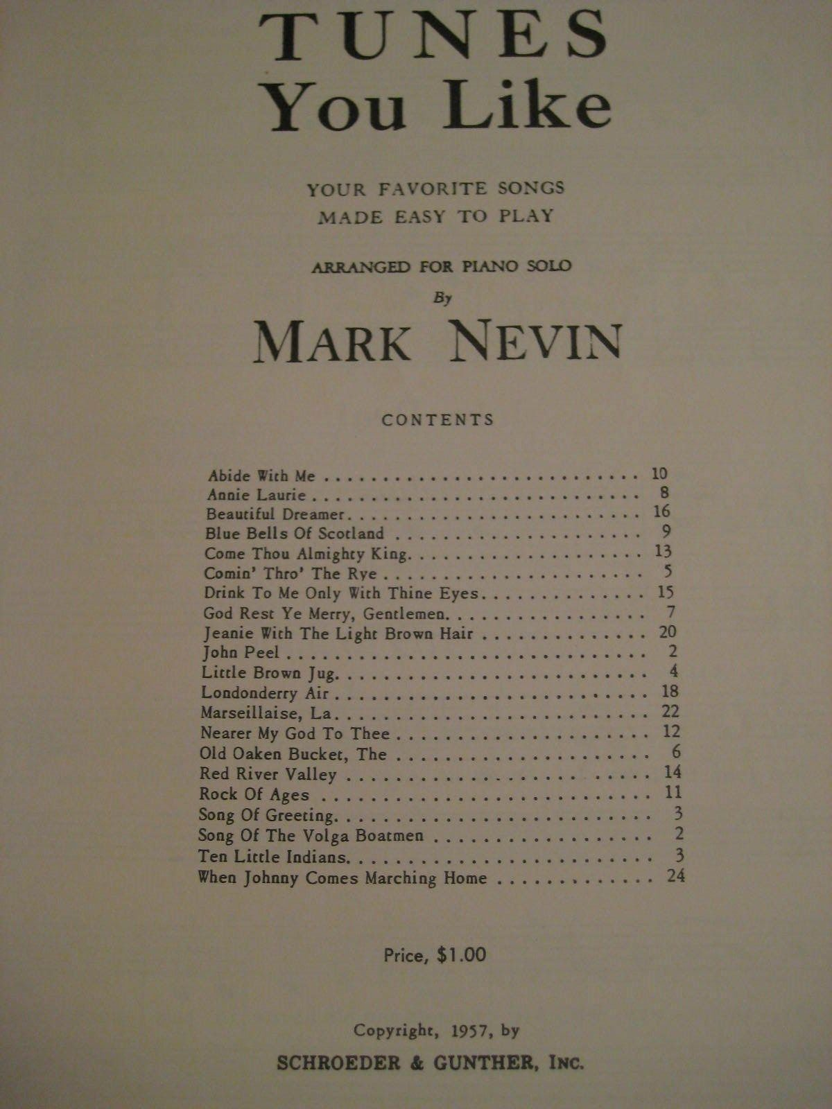 Original Vintage 1957 Book 4 TUNES YOU LIKE Song Book Piano Arrangements 24 pgs
