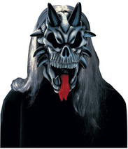 Demon Skull Halloween Mask 3/4 Adult Mask With Hair New - $9.95