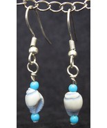 Light Blue (Lt Blue) Shell Dangle Earrings - $15.00