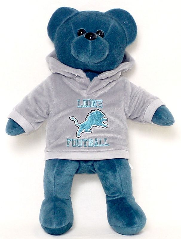 "DETROIT LIONS 14"" PLUSH HOODIE TEDDY BEAR NEW NFL FOOTBALL BLUE"