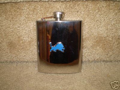 DETROIT LIONS 8oz STAINLESS STEEL FLASK NEW NFL