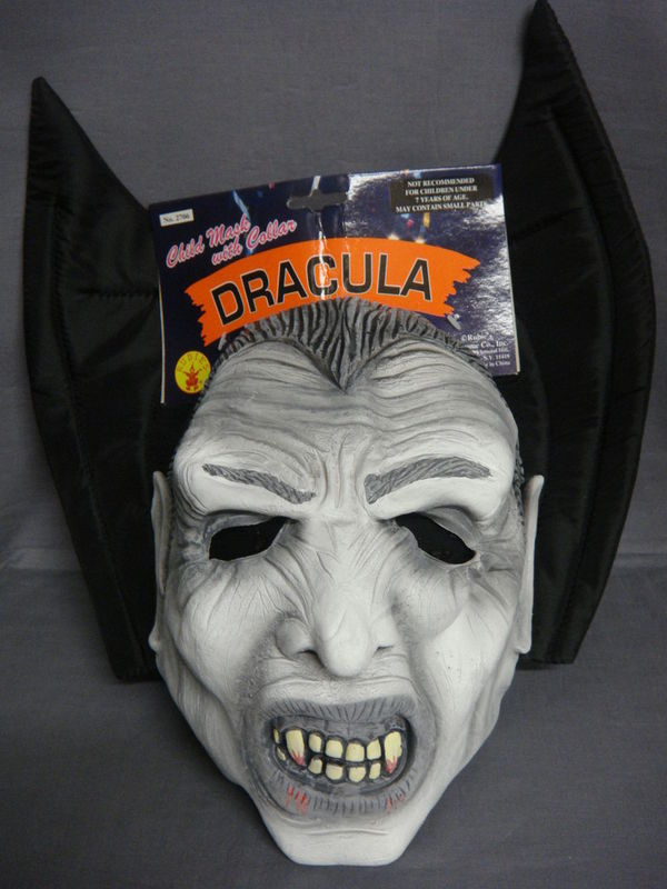 DRACULA VAMPIRE HALLOWEEN CHILD LATEX MASK WITH COLLAR