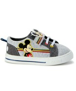 Disney Mickey Mouse Toddler Boys Casual Strap Shoes Size 11 Canvas Gray NEW - $16.82