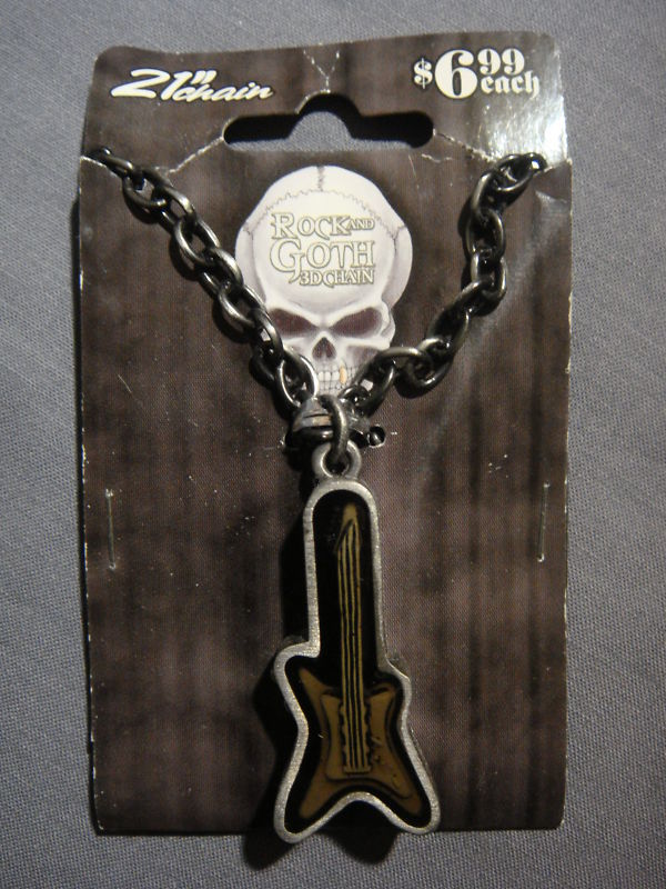 ELECTRIC GUITAR IN CASE ROCK THEME 3D CHAIN NECKLACE