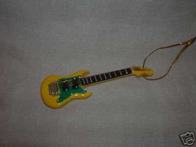 "ELECTRIC GUITAR FENDER INSTRUMENT ORNAMENT 4"" Y & B"