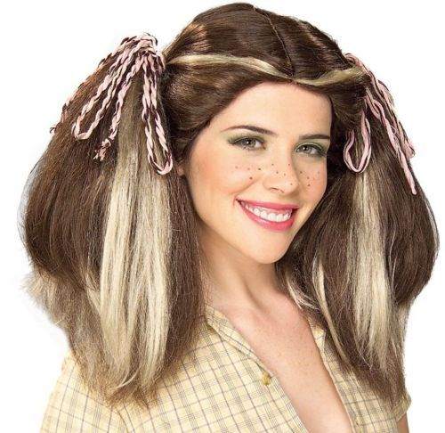 FARM GIRL WIG HALLOWEEN COSTUME WIG BROWN