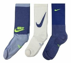 Nike Youth 3PK Performance Cushioned Crew Training Socks 5Y-7Y SX6840-901 - $19.99