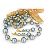 Vintage Grey Faux Pearls Beaded Necklace Earrings Set Japan - £22.19 GBP