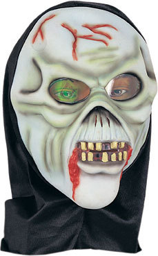 GHOUL HOODED HALLOWEEN MASK W/ HOLOGRAM EYES LATEX NEW
