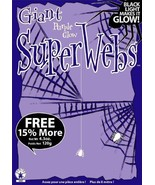 GIANT PURPLE GLOW SPIDER WEBS WITH SPIDERS HALLOWEEN DECORATION PURPLE S... - $3.91