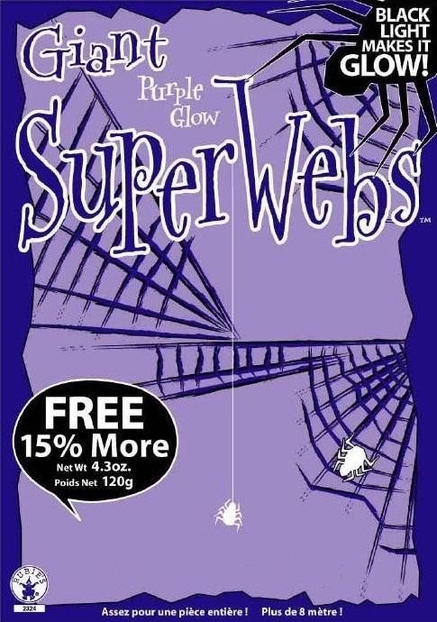 GIANT PURPLE GLOW SPIDER WEBS WITH SPIDERS HALLOWEEN DECORATION PURPLE SPIDERWEB