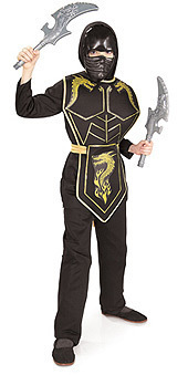 GOLD DRAGON NINJA COSTUME CHILD SIZE SMALL RUBIES SIZE 4-6 AGES 3-4 ELITE NINJA