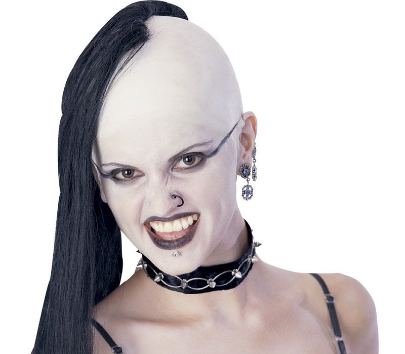 GOTHIC VAMPIRE BLACK BALD ADULT SIZE WIG HALLOWEEN COSTUME ACCESSORY NEW