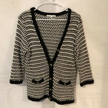 Cabi 868 Womens Medium Cardigan Sweater Black and White Cotton Faux Pockets - $19.98