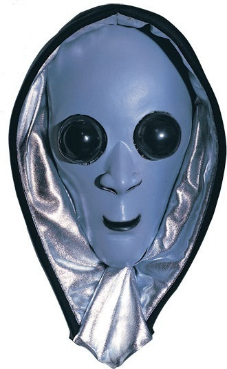GRAY ALIEN SCREAMER HOODED ADULT HALLOWEEN MASK NEW