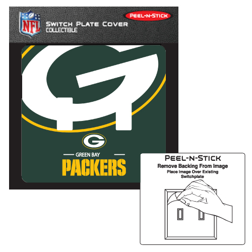 GREEN BAY PACKERS PEELNSTICK DOUBLE SWITCH PLATE COVER