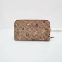 NWT Coach F55640 Cosmetic Case 22 Makeup Pouch Bag Canvas Floral Khaki Pink Mult - $49.95