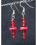 Interesting Red Earrings - Wavy Disk Dangle - $15.00