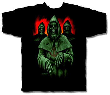 HOODED MONK HALLOWEEN T-SHIRT NETHERWORLD TEE LARGE