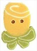 """Tiny Yellow Ribbon Rose 2324t handmade clay button .38""""JABC Just Another... - $1.40"""