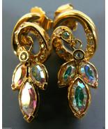 Gorgeous Aurora Borealis Crystal Gold tone metal Floral design Earrings ... - $19.80