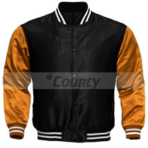 Super Letterman Baseball College Varsity Bomber Sports Jacket Orange Black Satin - $49.98+