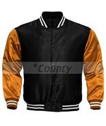Super Letterman Baseball College Varsity Bomber Sports Jacket Orange Bla... - $49.98+