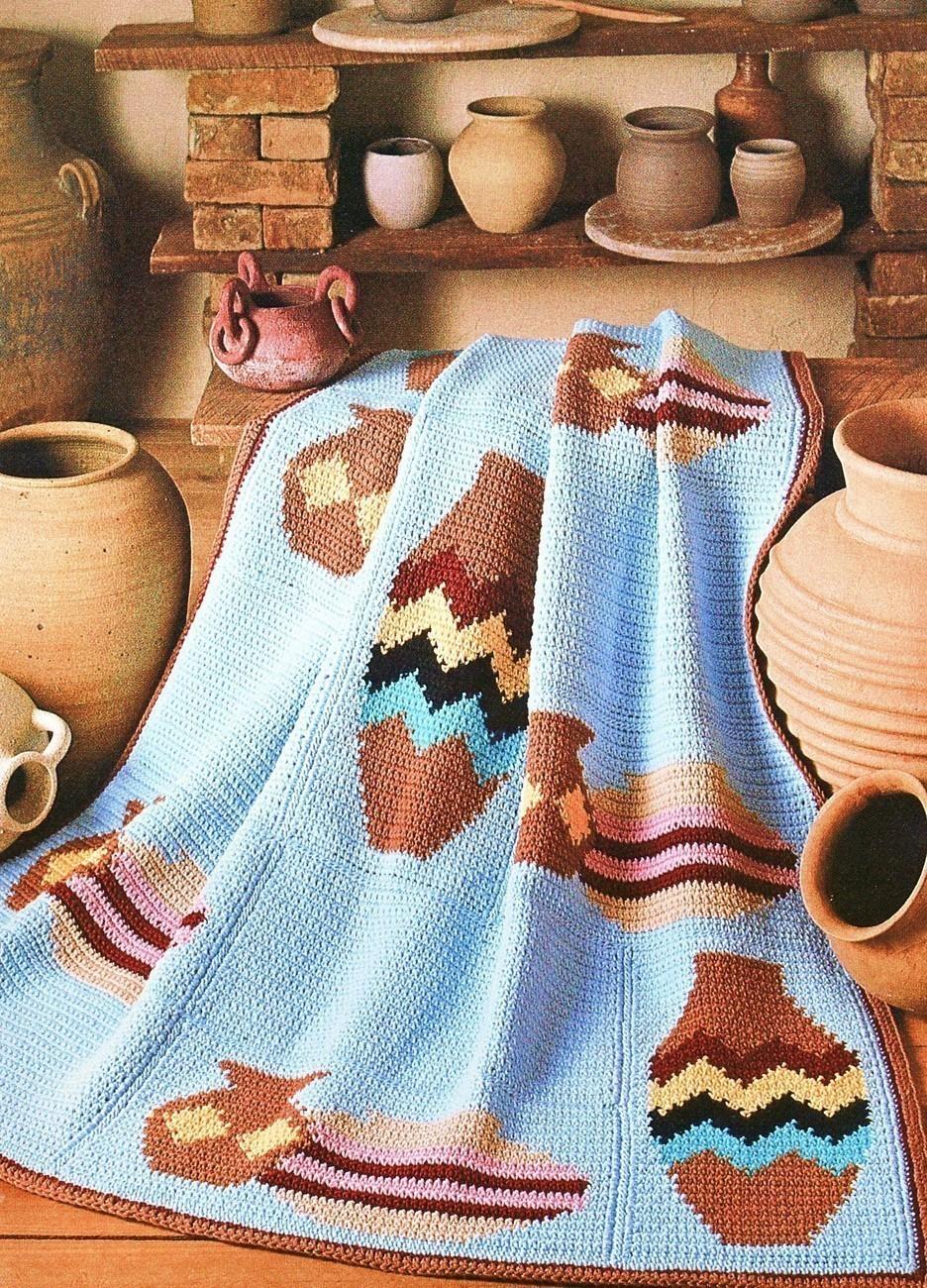 Navajo Pottery Afghan Crochet Pattern Indian Blanket - Afghans