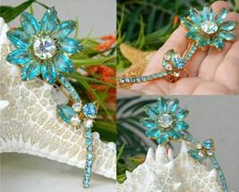 Vintage juliana rhinestone long stem flower pin brooch aqua thumb200